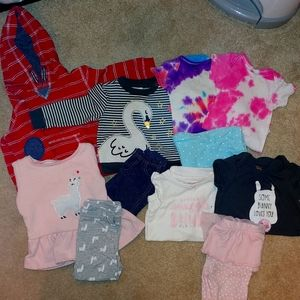 Baby girl 9-12 spring clothing lot matching sets